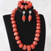 dudo nature coral jewelry set for women nigerian wedding jewellery set 15mm 22mm big coral bridal necklace earrings bracelet