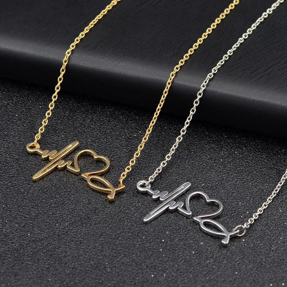 Collar de acero inoxidable para nuevas mujeres amor corazón colgantes collares de...