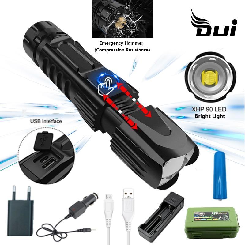 Nueva linterna táctica led DUI XHP90 de gran alcance, lúmenes, lámpara recargable con zoom Usb, antorcha de luz de flash recargable de alta potencia