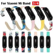 Pour mi Band 4 3 bracelet en cuir Bracelet pour xiaomi mi 4/3 accessoires bracelet mi band 4 femme Bracelet ceinture motif