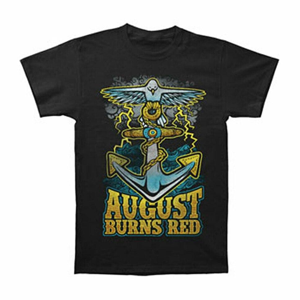 August Verbrennungen Rot Männer Taube Anker Slim Fit T-Shirt Schwarz Outdoor Tragen T Hemd