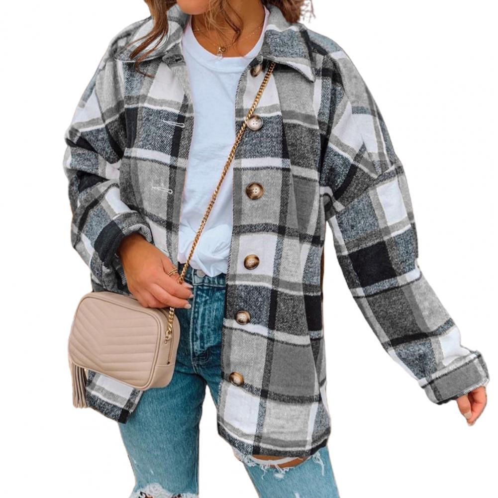 Women Long Sleeve Plaid Shirt Jacket Autumn Winter Buttons Coat Loose Outerwear