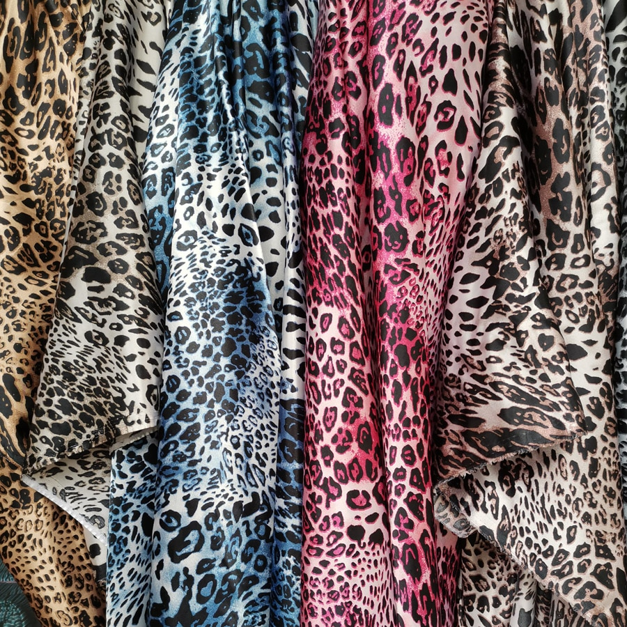 Leopard Satin Ombre Fabric Sewing Craft Material Silky Soft Fabric Craft Cloth Material