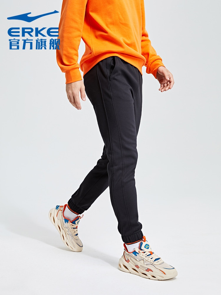 Hongxing Erke Sports Pants Fall Winter Men Knitted Thickened Casual All-Match Tight Pants Cropped Trousers Sweatpants Men