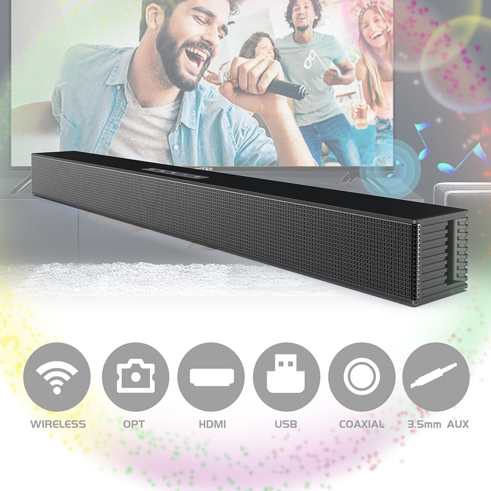 BS18 Wireless Soundbar wall hang Bluetooth Speaker Powerful 3D Music Sound bar Home Theater Aux 3.5mm rca TF card For TV PC enlarge
