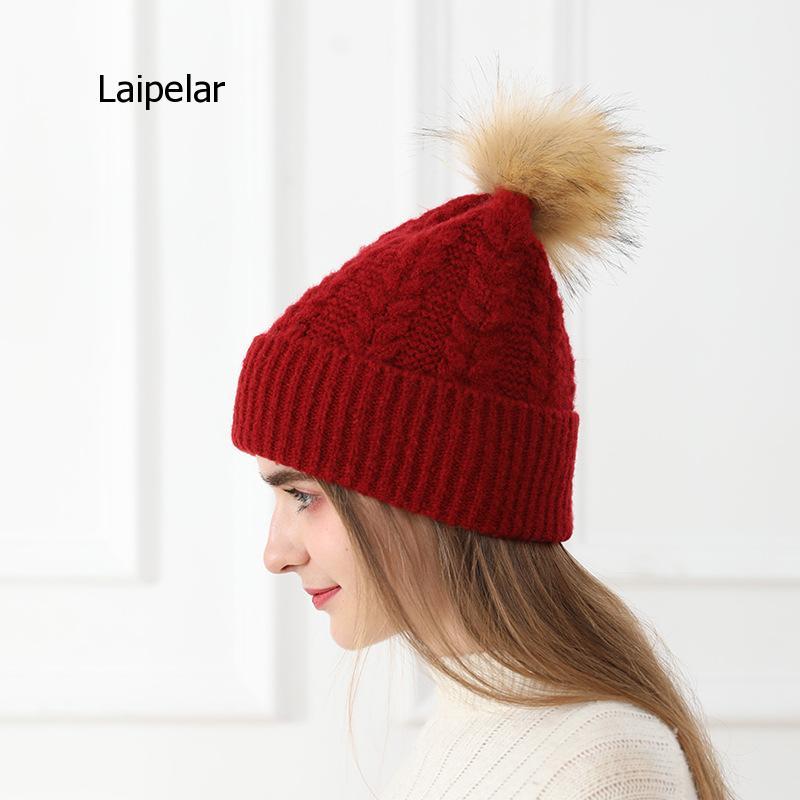 Winter Wool Knitted Cap Beanie Hats Girls Pom Pom Beanie Caps
