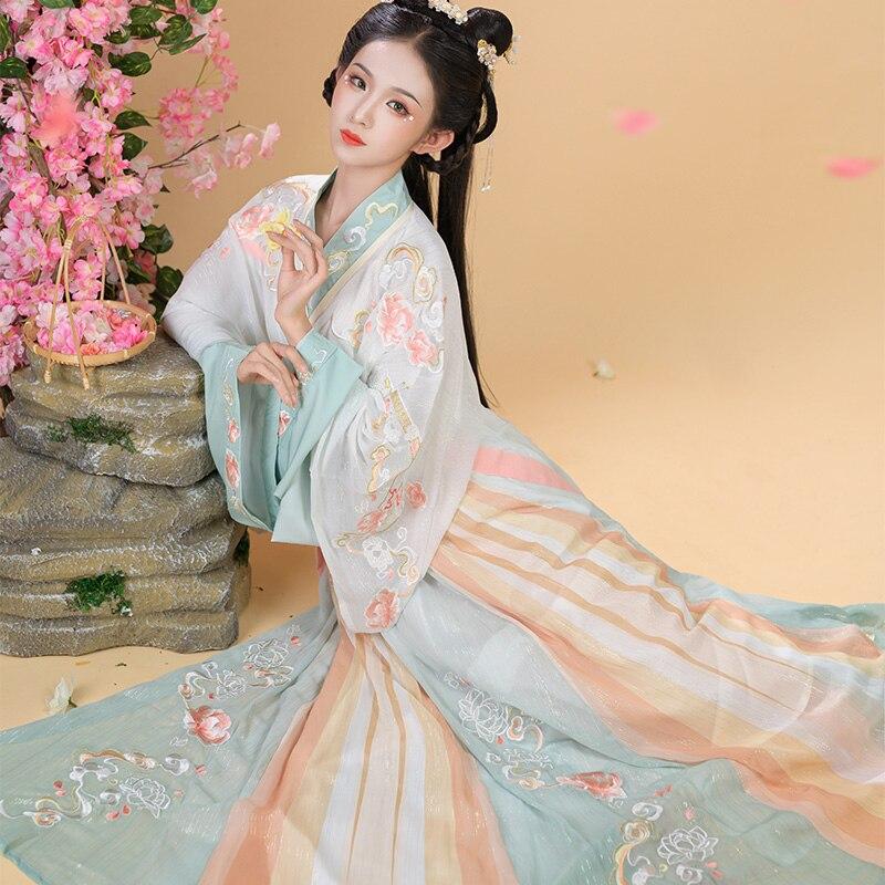 فستان الأميرات الصيني التقليدي للنساء من الجنية Hanfu ، أزياء المسرح التأثيرية ، ملابس الرقص الكلاسيكية الشعبية DL7536