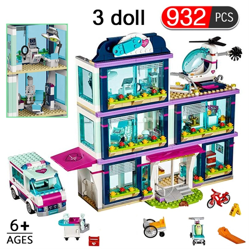 932 stücke Freunde Ziegel Serie Stadt Krankenhaus Krankenwagen Bausteine Set Stadt Ziegel Mit Figuren Mädchen Geschenk Spielzeug für Kinder