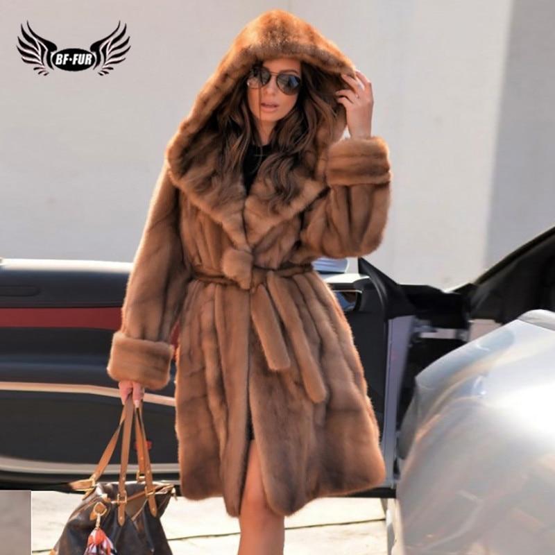 Высокое качество 90 см длинная натуральная норковая Меховая куртка с капюшоном Толстая теплая 2021 зимняя оптовая продажа настоящая норковая ...