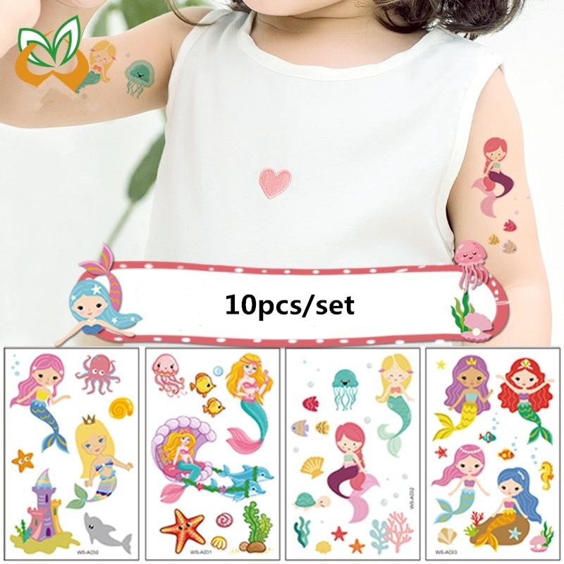 10pcs/set Temporary Tattoo Sticker Cartoon Mermaid Fake Tattoo for Kids Girls Boys Hand Body Arts Non-Toxic Tatuajes Temporales