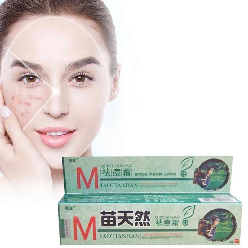 10 Uds crema de eliminación de acné Original Fuyou Miaotianran germicida Elimina los ácaros crema hidratante para el cuidado facial 18g