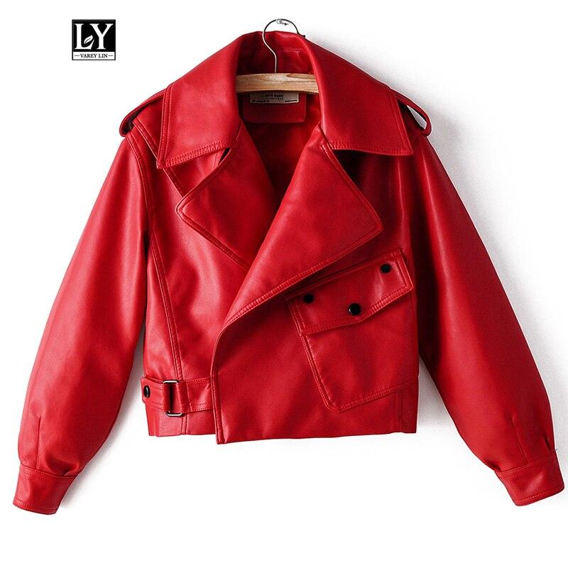Ly Varey Lin Novas Mulheres Do Falso Casaco De Couro Pu Motocicleta Casaco Streetwear Solto Vermelho Preto Do Punk Curto Faux Couro Macio outwear