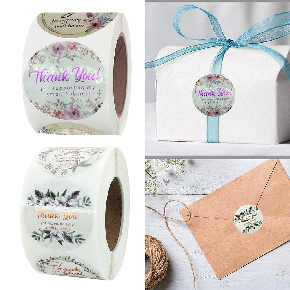 500pcs Gilled Flower Thank You Stickers 3.8cm Stationery Sticker Envelope Sealing Decoration Label
