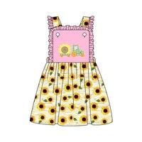 summer girls clothes pink sleeveless yellow sunflower print skirt green plaid truck sunflower embroidery pattern girl dresses