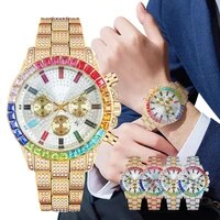 mens gold watch luxury rhinestone casual watcheswrist male crystal watches men diamond fashion watch relogio feminino 2021 gift