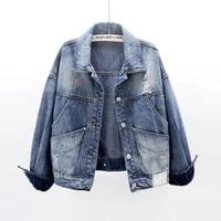 autumn vintage black blue denim jackets women loose outerwear korean big pocket long sleeve short holes jeans jacket coat female