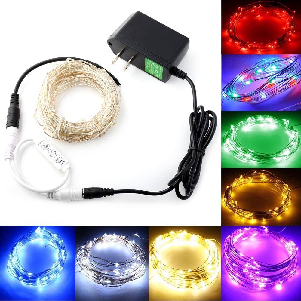 fairy lights usb 5m 10m silver led copper wire string light christmas holiday lights wedding patio decorations garden lighting 10m 5m LED Silver Wire LED String Lights Outdoor Party Xmas Christmas Fairy Light Starry Holiday Lighting + Adapter + Controller