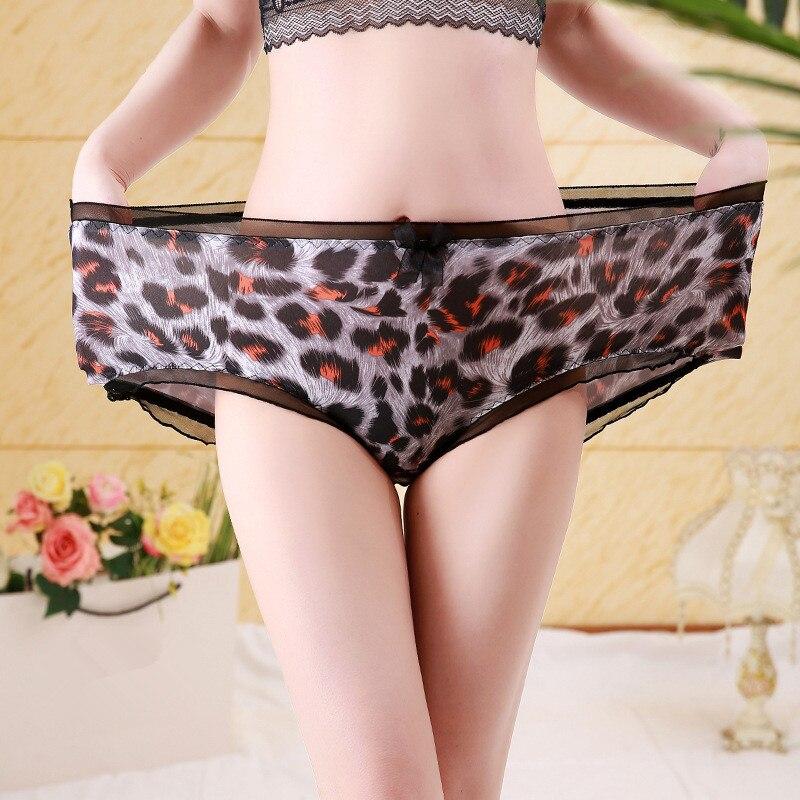 Ropa interior de moda para mujer, ropa interior íntima de talla grande 5XL, lencería Sexy de encaje con estampado de leopardo, bragas para mujer, 2020