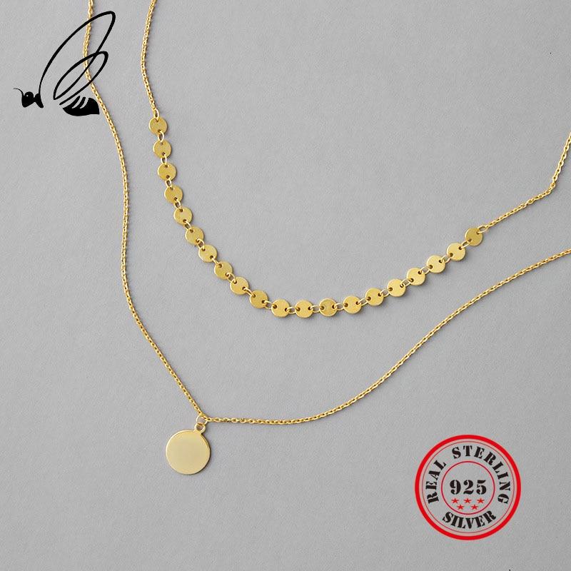 Collar redondo con colgante de plata de ley 925 para mujer, collar en capas de Corea, Gargantilla, accesorios de fiesta personalizada, joyería fina
