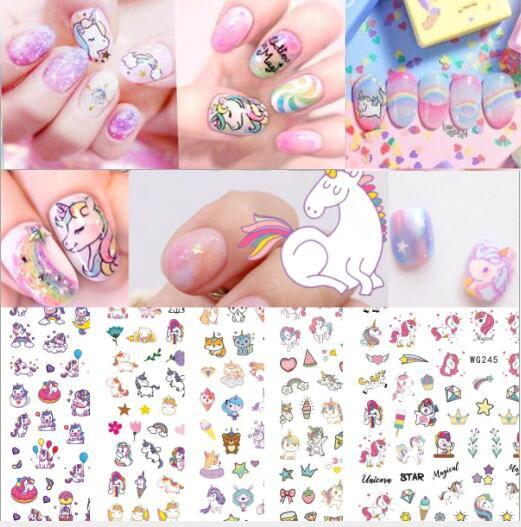2020HOT! 3D в виде единорога из мультфильма, наклейки для ногтей для детей милый пони Единорог наклейка для ногтей с персонажем мультфильма для ногтей тату Маникюр Искусство украшения