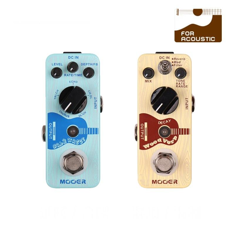 Mooer bebé agua y woodverb reverberación de retardo de tiempo, caja eléctrica guitarra de madera efector, función reverb/mod/filtro