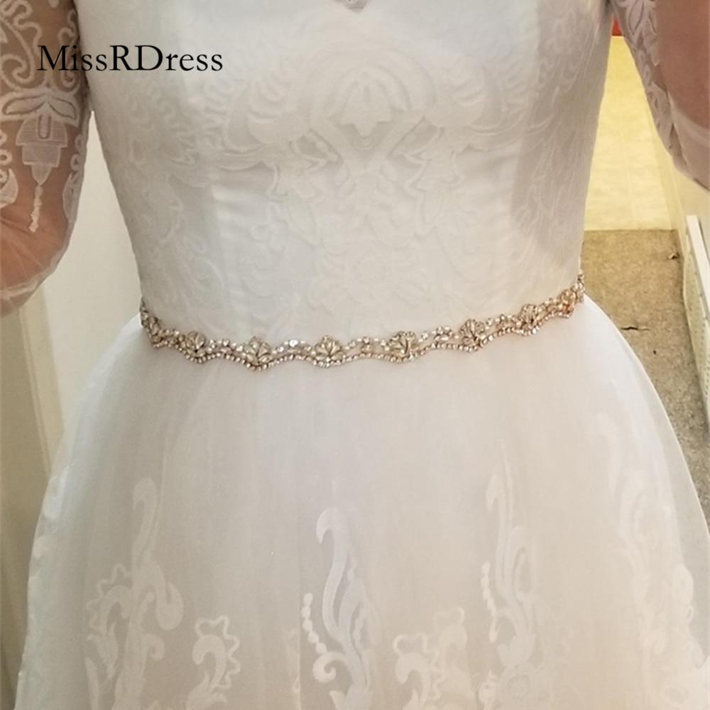 MissRDress Pearls Bridal Belt Silver Crystal Wedding Belt Thin Rhinestones Wedding Dress Sash For Bridal Accessories JK810