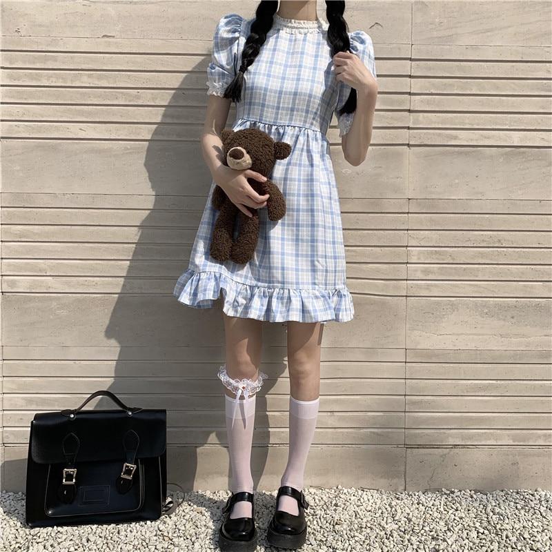 ¡Novedad de 2020! Bonitos vestidos japoneses a la moda de manga abombada para mujer de Estilo Vintage Kawai, estilo colegial, cintura alta