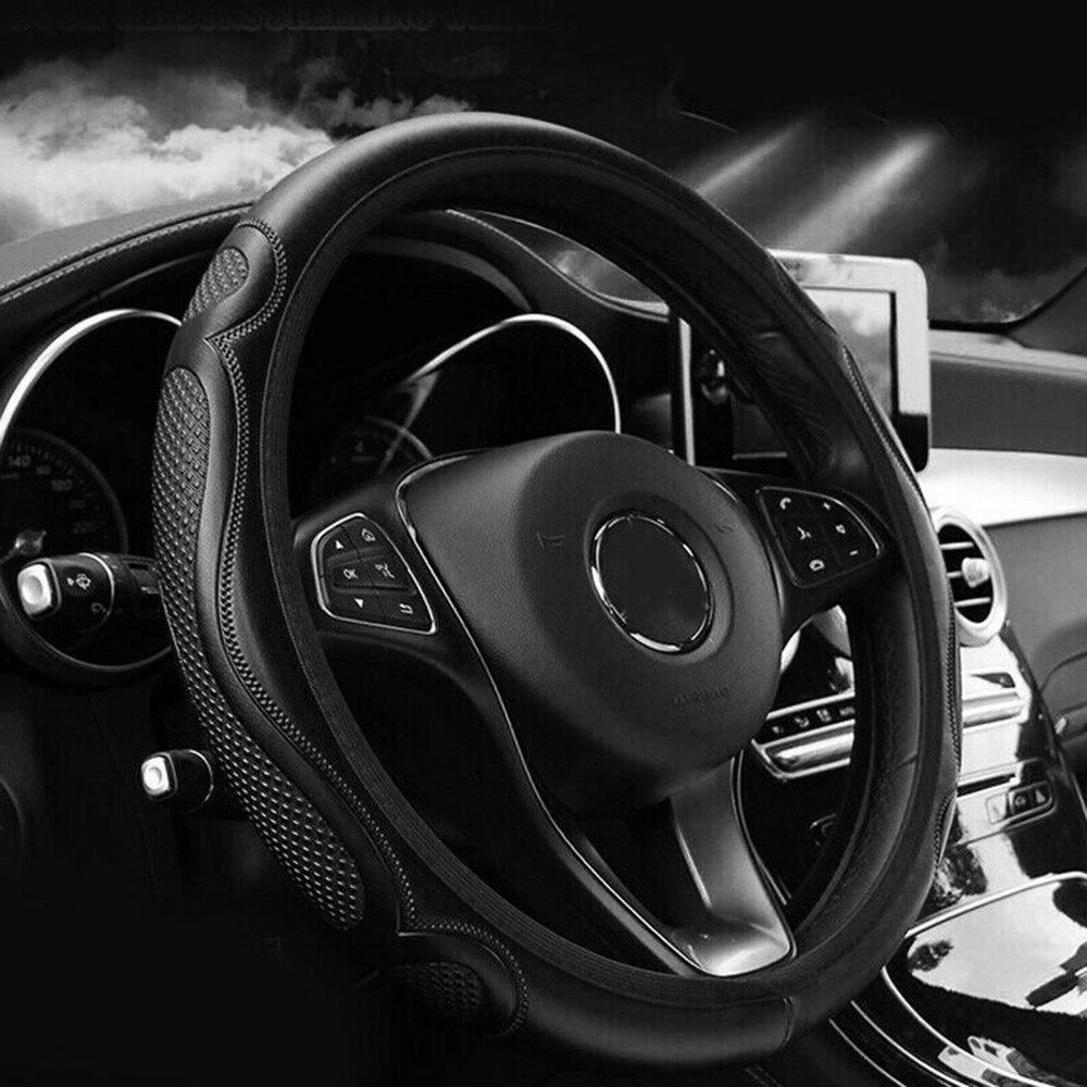 Funda de cuero para volante de coche 2019 antideslizante para 37-38CM de diámetro accesorios de coche