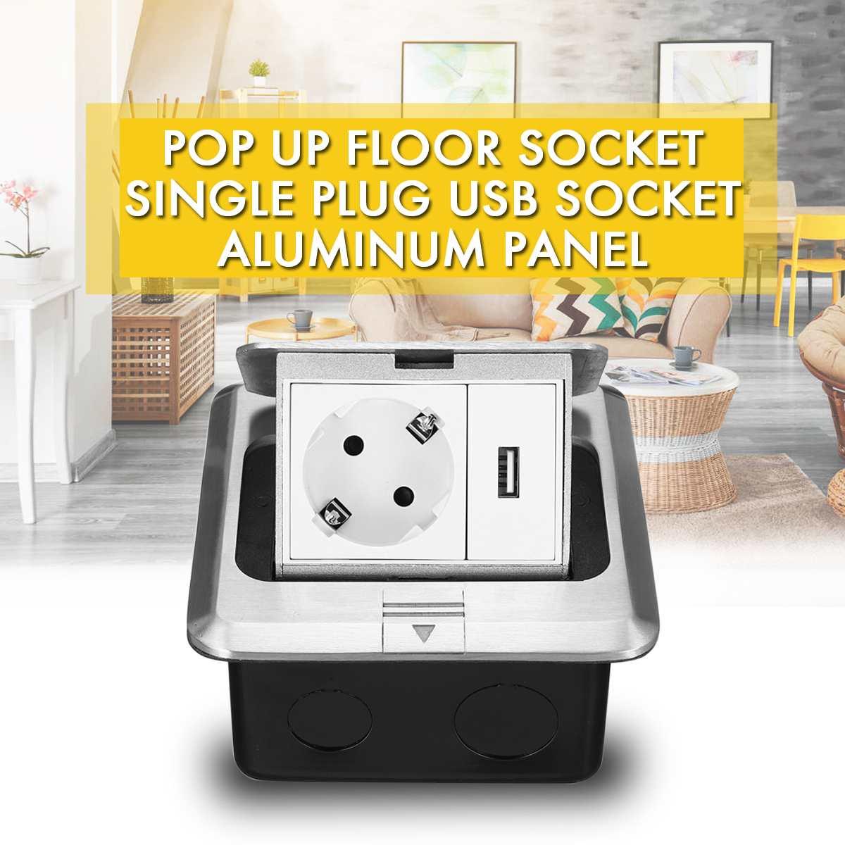 Tüm alüminyum gümüş Panel Pop-Up zemin soket 16A rusya İspanya ab standart güç çıkışı USB şarj portu 5V 1A