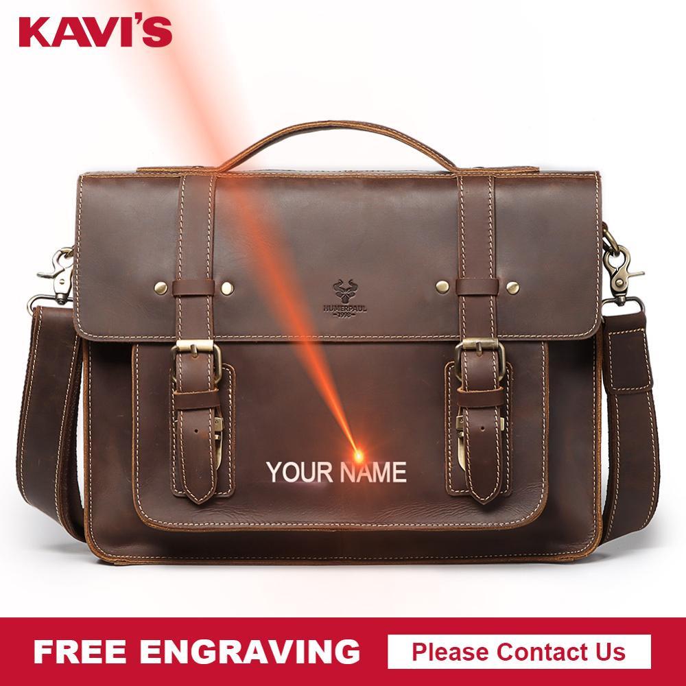 KAVIS bolsos de mensajero de piel auténtica de vaca de calidad con grabado gratis, bolso de negocios para hombre, bolso de viaje para ordenador portátil