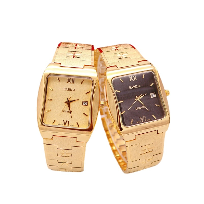 INS Fashion Watch Square Sand Gold Watch Couple Quartz Waterproof Temperament Watch Neutral Watch Watches for Men and Women