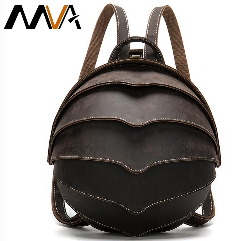 MVA mochila de cuero de Caballo Loco mochila Vintage para mujer mochila De Cuero mochila escolar de cuero mochila de viaje mochila mujer 4007