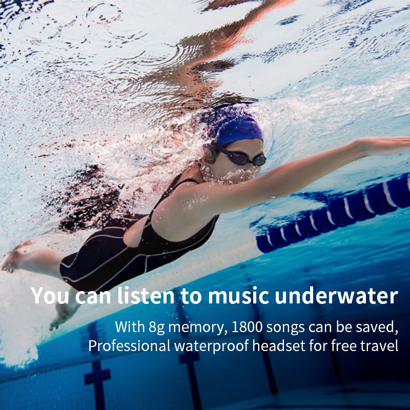 Wireless headphones Bluetooth Earphones 8GB IPX8 Waterproof MP3 Music Player Swimming Diving Sport Headset For all smartphone enlarge