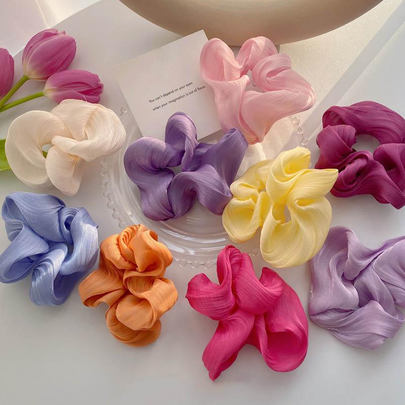 AOMU Japanese Candy Color Silk Satin Elegant Headwear Cloth Art Hair Band for Women Fashion Colorful Accessories Sweet Girls