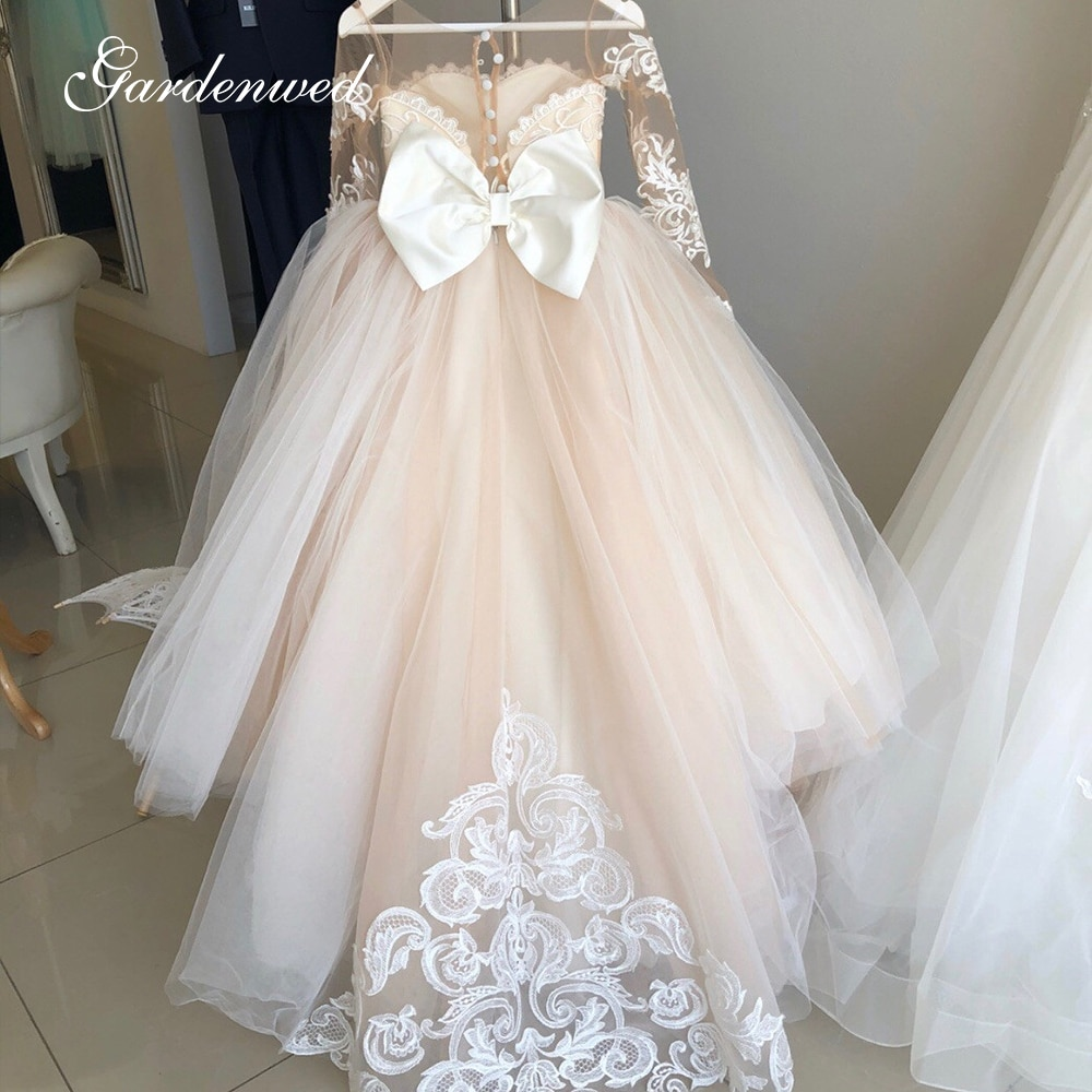 Puffy Tulle Lace Ball Gown Flower Girl Dresses Long Sleeve Girl Princess Dress Illusion Girl Wedding Party Dress First Communion