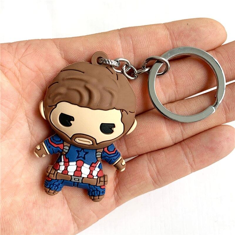 Dessin animé mignon Steve Rogers Figure porte-clés PVC Silicone porte-clés Double face dessin animé porte-clés enfant bibelot porte-clés U081