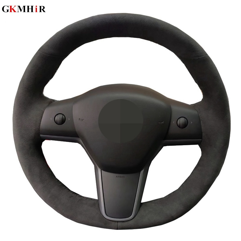 Hand-stitched Car Steering Wheel Cover Suede Cow Leather Volant Braid On The Steering Wheel For Tesla Model 3 2017 2018 2019