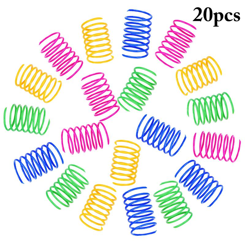 20Pcs Cat Spring Toy Plastic Colorful Coil Spiral Springs Pet Action Wide Durable Interactive Toys