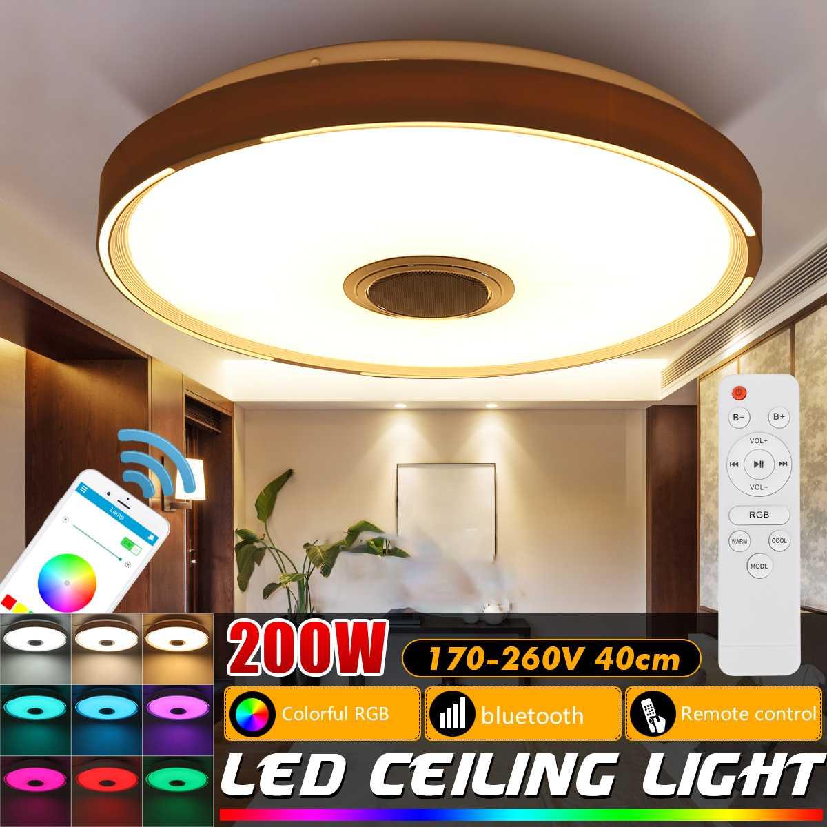40cm RGB LED Ceiling Light Remote APP Control Ceiling Lights Acrylic Lamp 200W Smart bluetooth Speaker Music Lighting Fixture