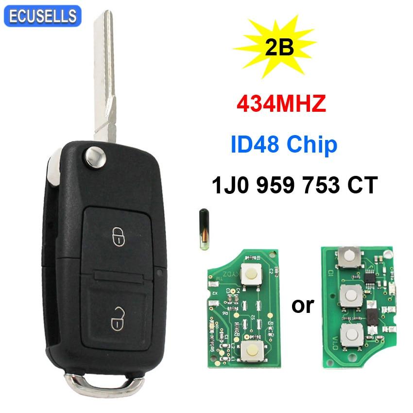 2 botão remoto chave do carro 434 mhz id48 chip 1j0 959 753 ct 1j0959753ct para volkswagen para vw bora polo golf mk4 hu66 sem corte lâmina