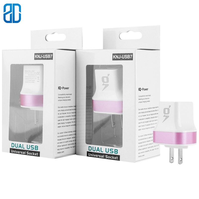 Chargeur mural US Multi USB Portable 2 ports chargeur brique prise de voyage Cube téléphone charge iPhone X/8plus/8 iPad Samsung Galaxy