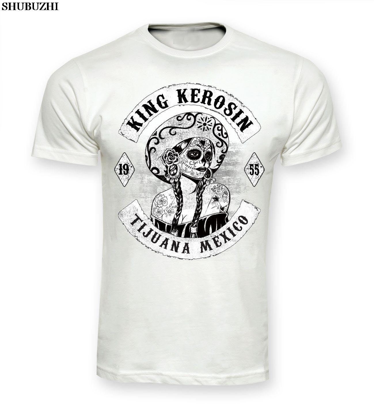 Hombres shubuzhi algodón Top camisetas de manga corta Camiseta Tijuana México azúcar calavera Vintage Pinup 1955 Rockabilly v8algodón camiseta
