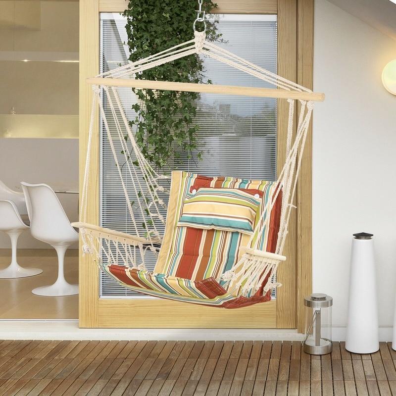 في الهواء الطلق معلقة كرسي أرجوحة معلقة كرسي هزاز إطار حبل سميك آمن مقعد واسع داخلي في الهواء الطلق