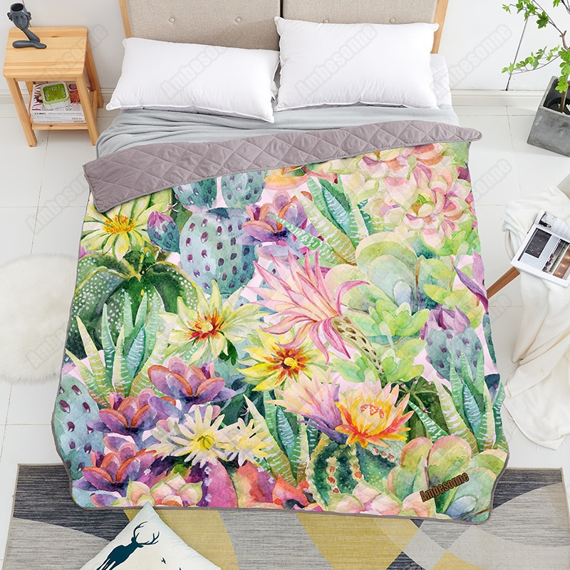 Print on Demand Summer Quilt Watercolor Blooming Cactus Queen size Coverlet Thin Quilts Custom Bedspread on The Bed Dorm Covers