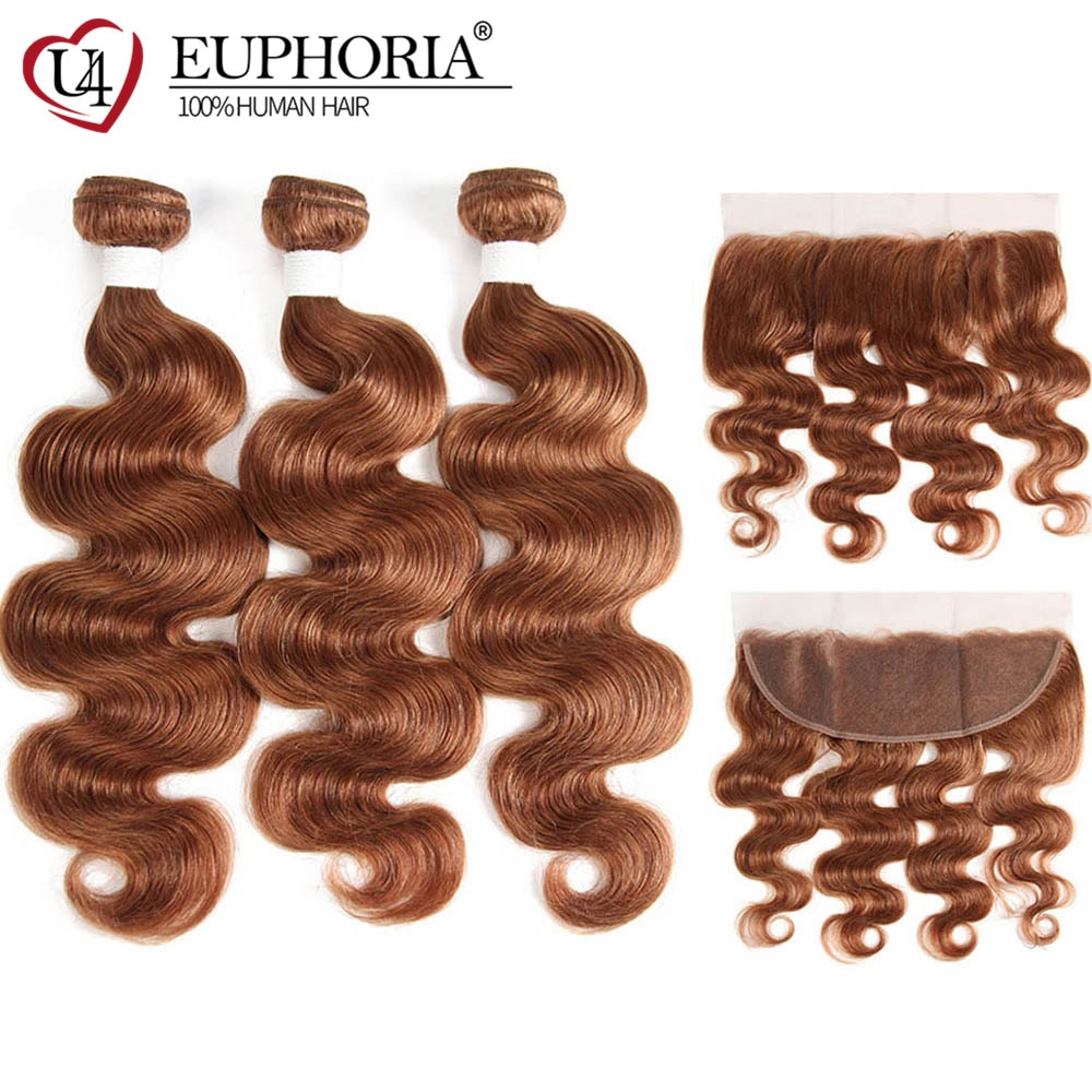 Body Wave Bundles With Lace Frontal 13x4 Light Brown 30 Brazilian Remy Human Hair 3 Bundles With Lace Closure Frontal EUPHORIA