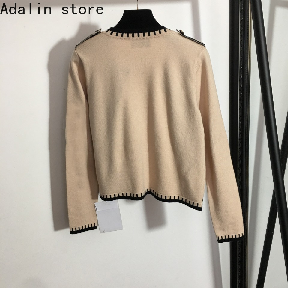 2021 high quality autumn and winter new fashion women's button long sleeve round neck knitted cardigan knitted jacket sweater enlarge