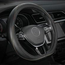Car Steering Wheel Cover Genuine Leather Accessories for Vw Jetta 6 Mk6 Passat B5 B6 B7 B8 Cc Wagon D Shape Flat Plat Bottom