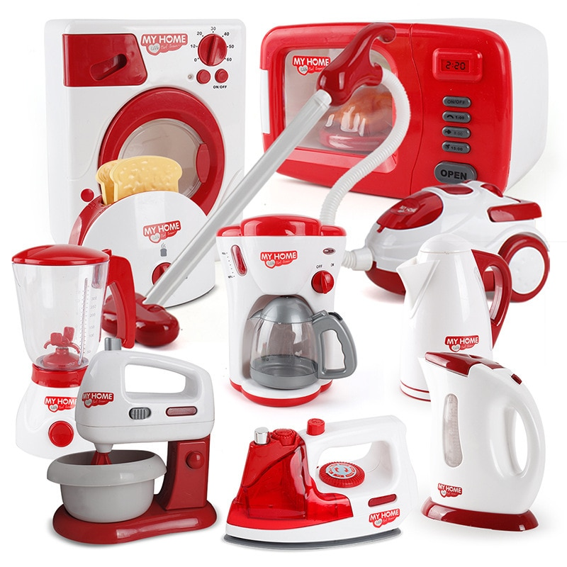 Pretend Toy Simulation Kitchen Play Kettle Electric Iron Washing Machine Vacuum Cleaner Microwave Ov