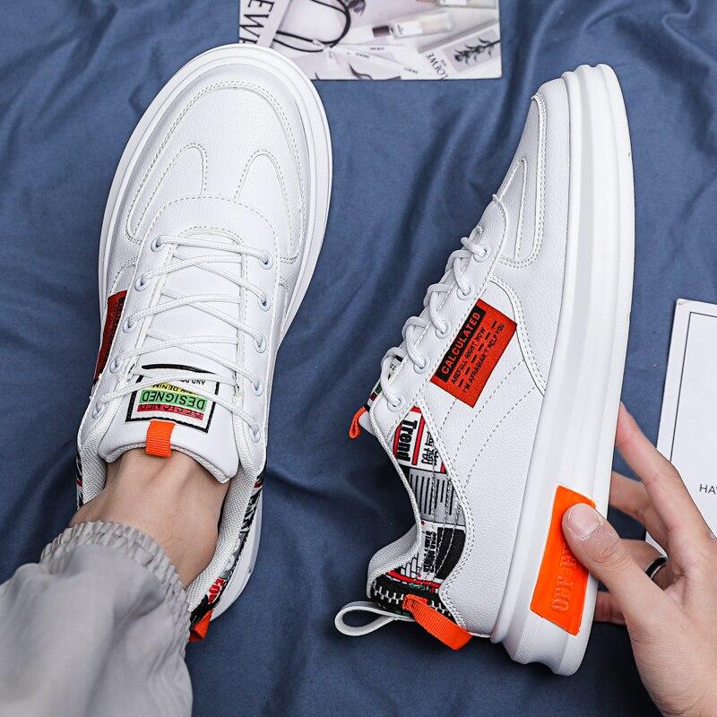 رجل حذاء كاجوال 2021 الربيع الصيف الرجال أحذية رياضية جلدية تنفس أحذية رياضية الدانتيل متابعة الرياضة ليتل حذاء أبيض