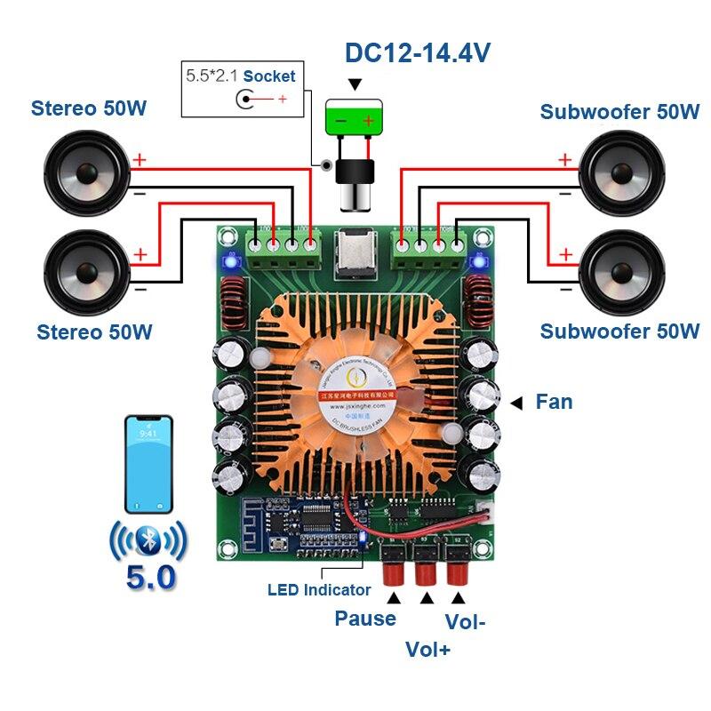 4*50W Bluetooth 5,0 TDA7850H HiFi Audio amplificador Digital placa BTL potencia Clase AB estéreo Subwoofer Home Theater amplificadores de coche